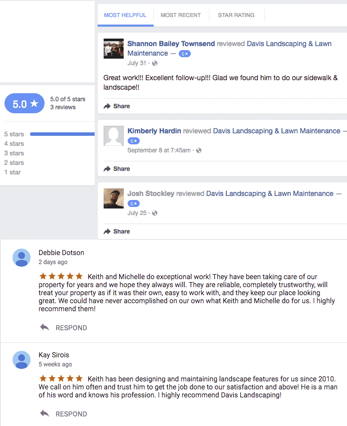 Customer reviews from google and facebook